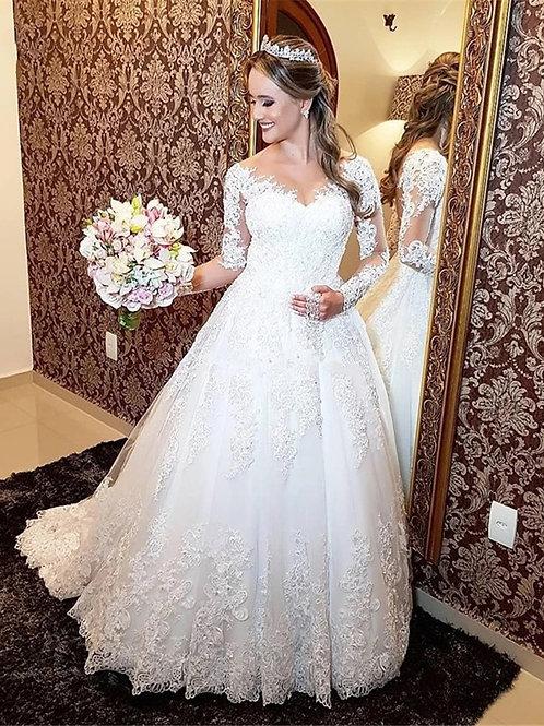 Vestido De Noiva Meia Princesa Silêncio Manga Longa