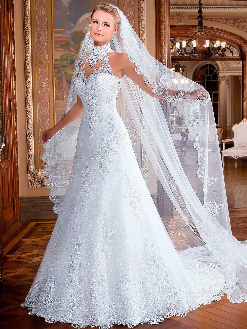 decote gola alta vestido de noiva