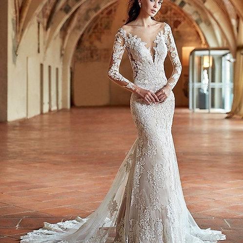 Vestido De Noiva Sereia Marés Manga Longa