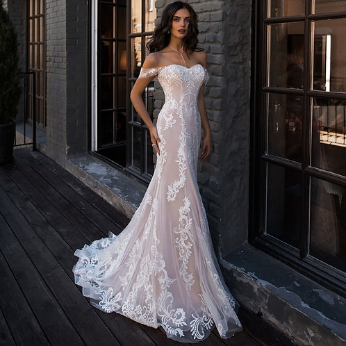 Vestido De Noiva Caminho Sereia Ombros Caído