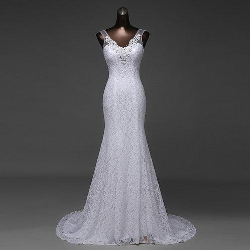 Vestido De Noiva Manga Curta Sereia Alegria