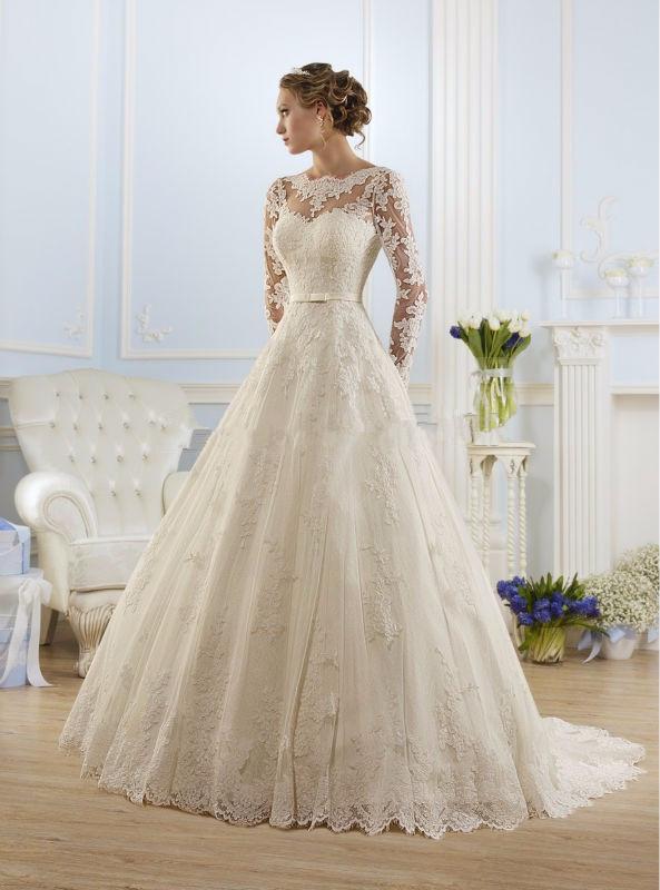 Vestido de noiva decote coração manga longa