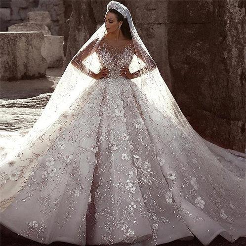 Vestido De Noiva Princesa Respeito Manga Longa