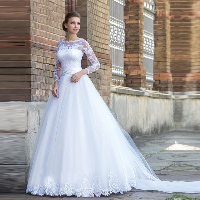 Vestido De Noiva Sem Decote Manga Longa