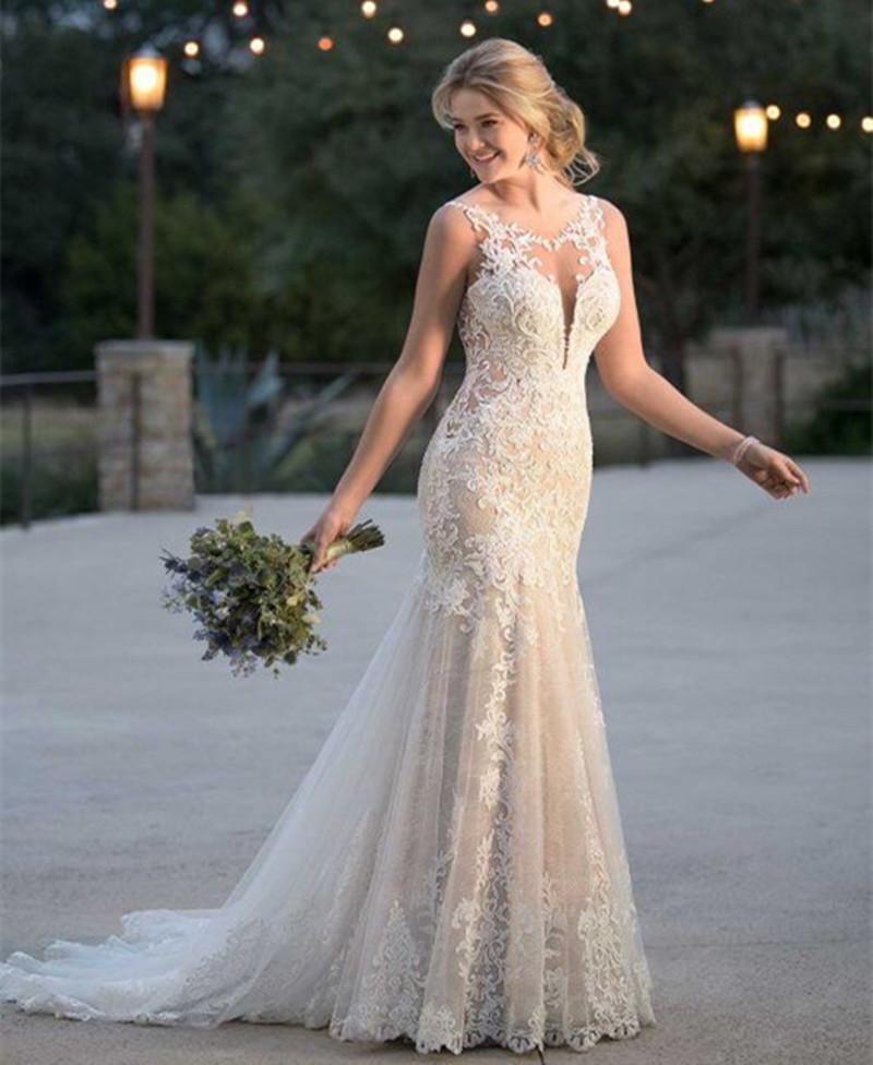 vestido de noiva sereia cor champanhe