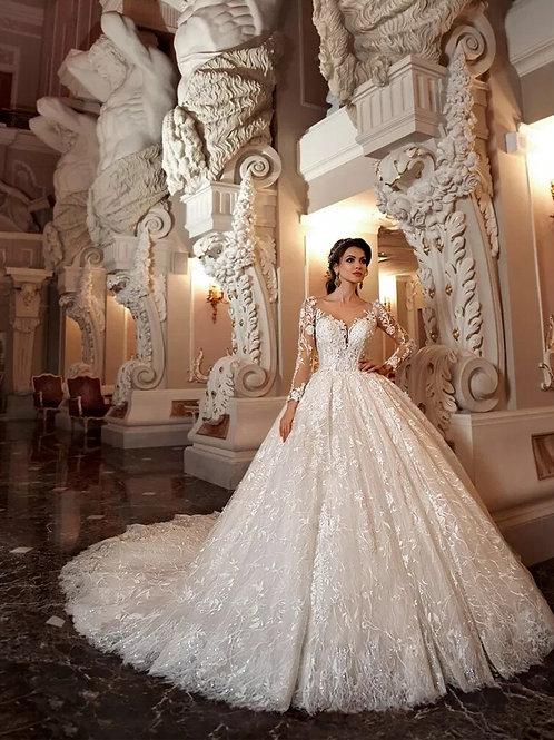 Vestido de Noiva Princesa Catedral Com Manga