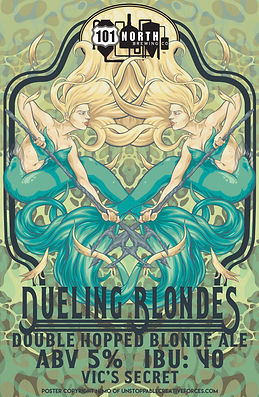 101 North Brewery Dueling Blondes Label