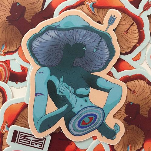 Mushroom Lady Blue Sticker