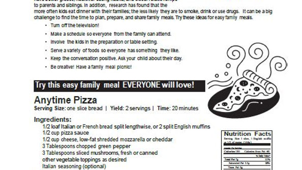 Family Meals 'In the Kitchen' Newsletter