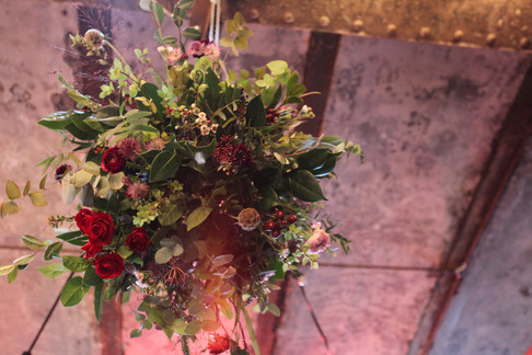 Hanging flower bombs for a laid back East London Wedding.