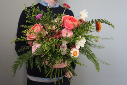 Ferns, dried and fresh flowers for deliveries.