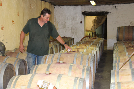 Philippe in our barrel cellar