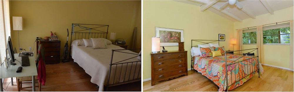 Bedroom: declutter, new linens, hung wall art
