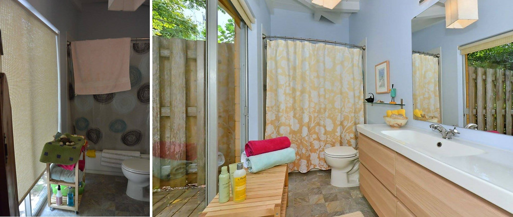 Bathroom: new curtain, rug, declutter