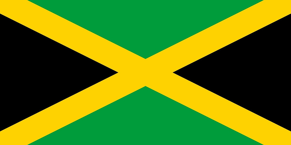 The Jamaica National Flag which consists of a gold St. Andrew Cross, which divides the flag into four sections: two of them green (top and bottom) and two black (hoist and fly end).