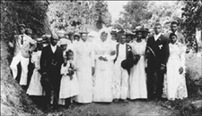 """Old time Jamaican country weddings were also characterized by """"wedden godmaddas and godfaddas"""" who were chosen by the bride and groom respectively. In this they showed similarity to many African traditions that involved family and community in the planning and celebration."""