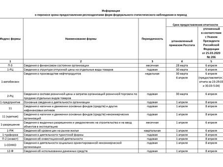 Информация Росстата о продлении сроков предоставления отчетности