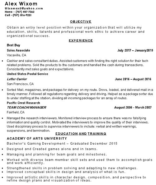 Game Tester Resume Sample: Alex-wixom