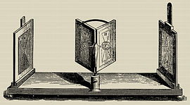 Charles Wheatstone mirror stereoscope for viewing separated stereoviews