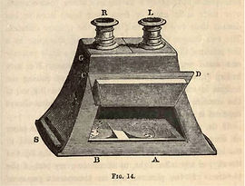 Lense stereoscope by David Brewster for viewing photo stereoviews