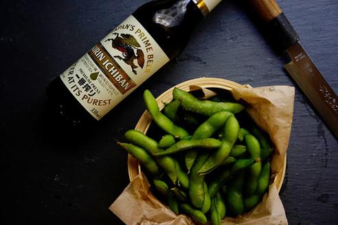 Kirin Beer & Edamame