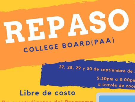REPASO DEL COLLEGUE BOARD OFRECIDO POR EL  PROGRAMA TALENT SEARCH DE ASPIRA DE PUERTO RICO