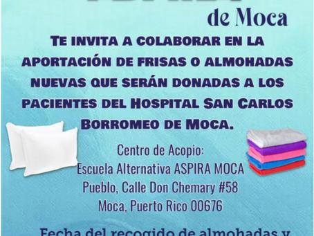 Estudiantes colectan almohadas y frisas para hospital en Moca