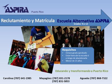 Reclutamiento y matrícula en la Escuela Alternativa ASPIRA