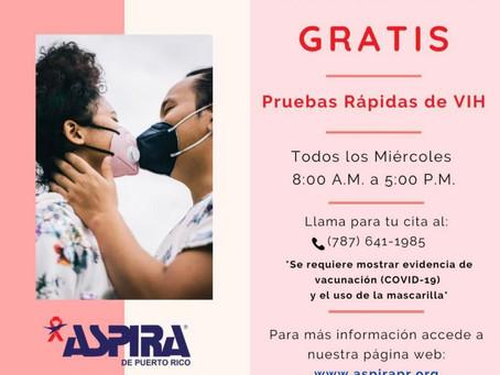EN ASPIRA DE PUERTO RICO OFRECEMOS PRUEBAS GRATUITAS DE VIH TODOS LOS MIÉRCOLES