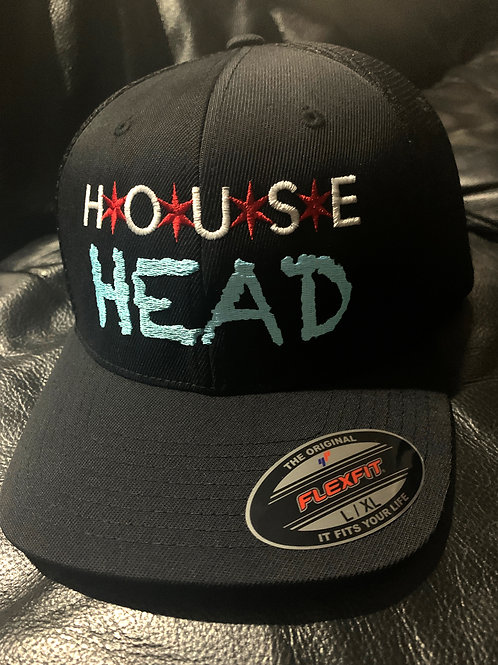 Chicago House Head Black Mesh Fitted Cap