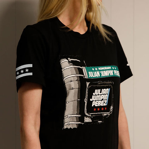 Black Tee with Julian Jumpin Perez Street Sign