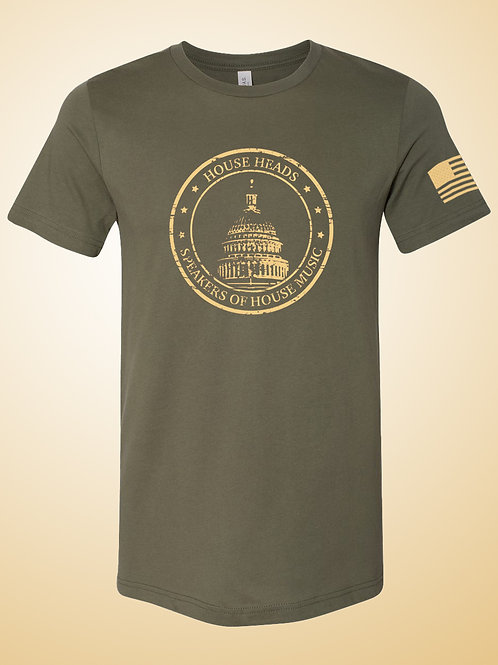 House Heads Speakers of House Music Fatigue Green Tee