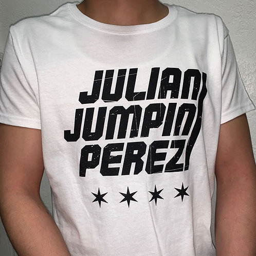 White Tee with Julian Jumpin Perez Logo and Stars