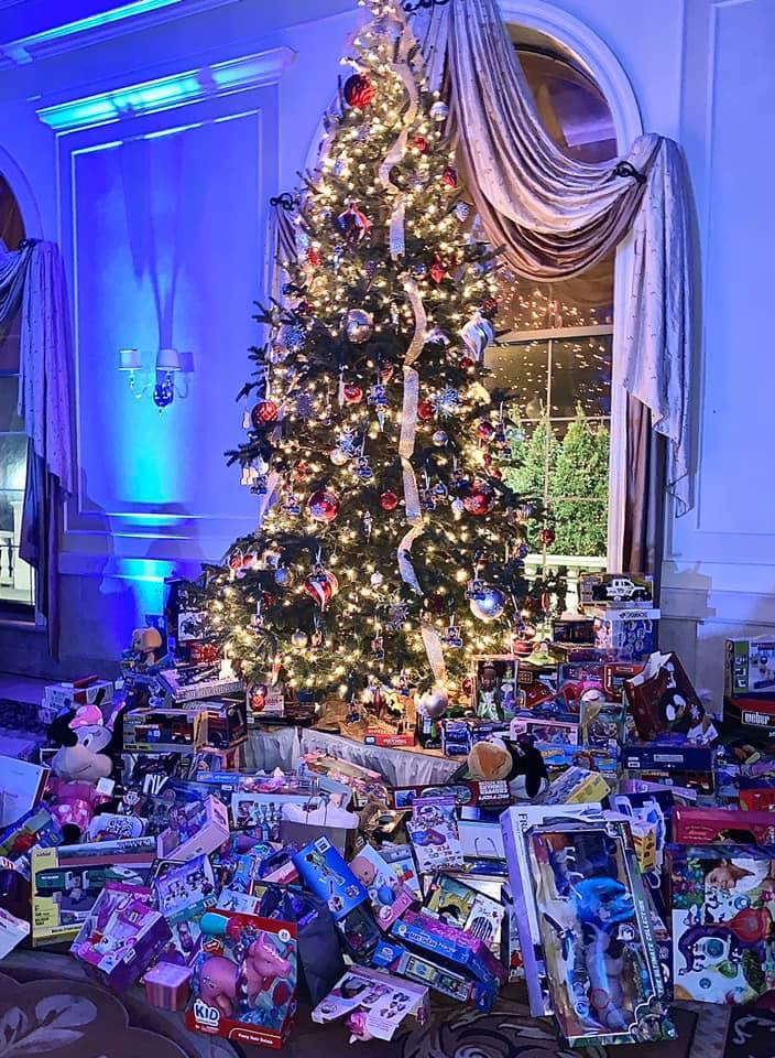 Donations under our first tree at Venuti's 2019