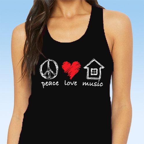 Peace Love House Music Ladies Racerback Tank