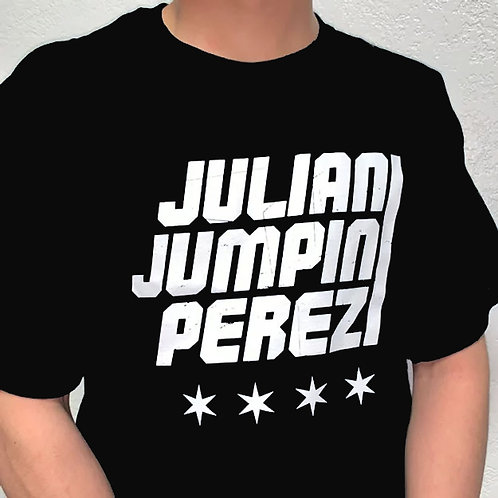 Black Tee with Julian Jumpin Perez Logo and Stars