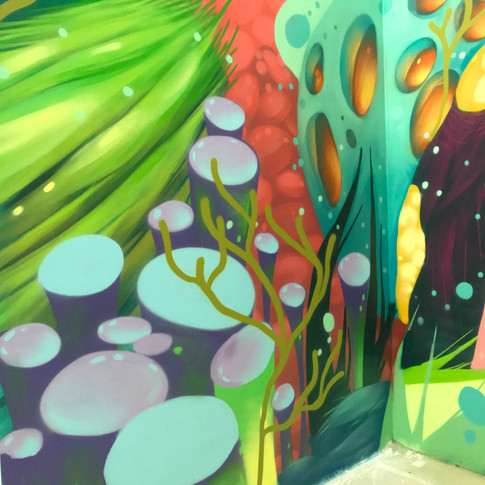 Underwater themed mural at Otherworld