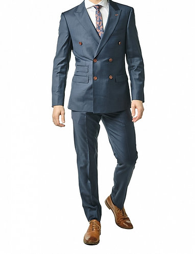 Navy Double Breasted Suit . Wool & Cashmere
