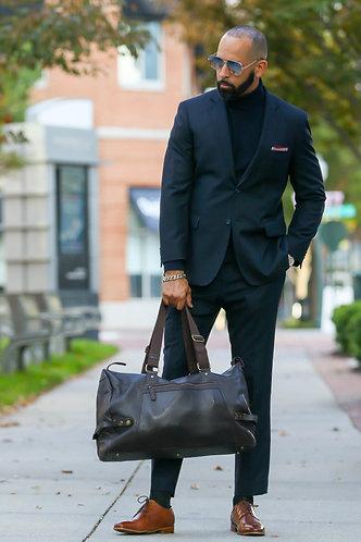Black Pinstripe Suit Half Canvas
