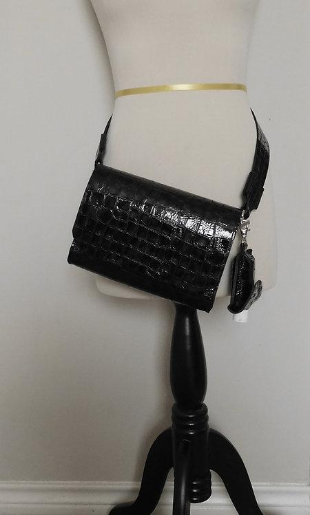 Patent Leather Cowhide Belt Bag Purse Pocketbook with Hand Sanitizer Holster