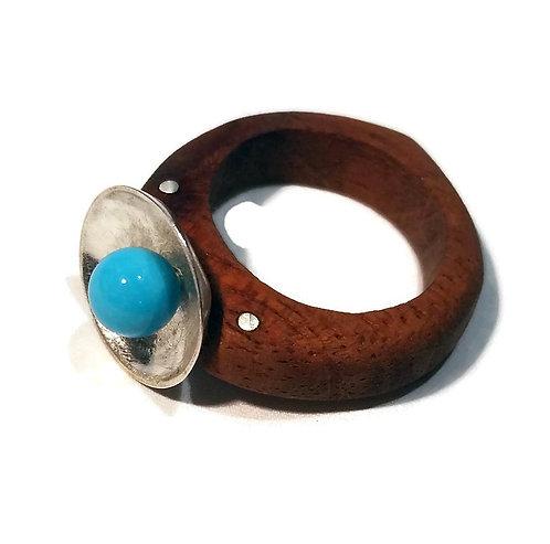 Sterling Silver & Honduran Mahogany Dome Ring