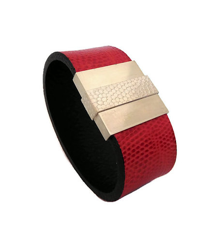 Red Lizard and Sterling Silver Women's Leather Cuff Bracelet