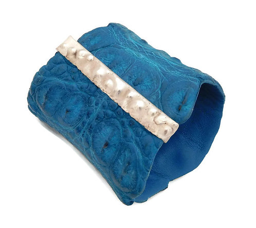 Turquoise Crocodile Leather and Sterling Silver Cuff Bracelet