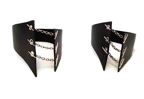 Sterling Silver & Black Leather Choker Necklaces