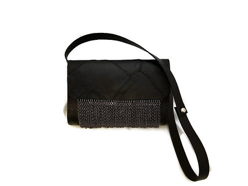 Handmade black leather and fringed chain purse