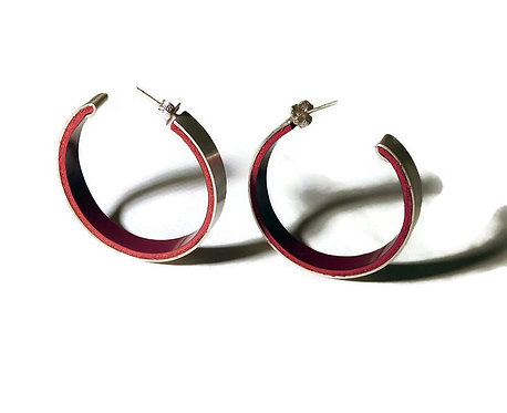 Sterling Silver and Patent Leather Hoop Earrings