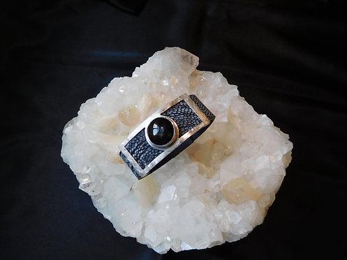 Black Star Sapphire & Ostrich Skin Sterling Silver Bracelet