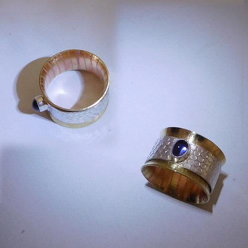 Sterling Silver, Brass & Iolite Spinner Ring