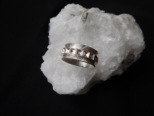 Unisex Sterling Silver Squared Spinner Ring