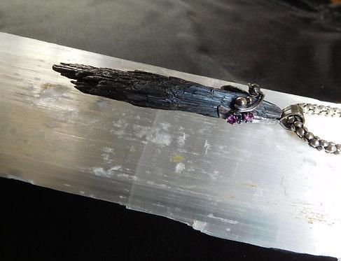 Black Kyanite, Garnet & Sterling Silver Witches Broom Pendant